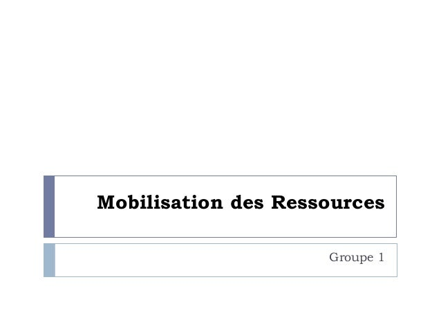 Mobilisation des Ressources Groupe 1