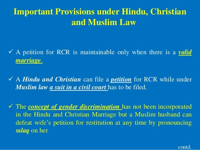 restitution of conjugal rights under hindu Modes of execution of decree for restitution of conjugal rights under the hindu marriage act, 1955.