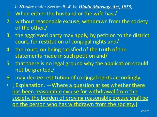  Hindus under Section 9 of the Hindu Marriage Act, 1955, 1. When either the husband or the wife has,/ 2. without reasonab...