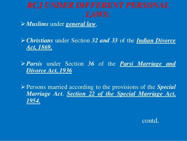 RCJ UNDER DIFFERENT PERSONAL LAWS: Muslims under general law, Christians under Section 32 and 33 of the Indian Divorce A...