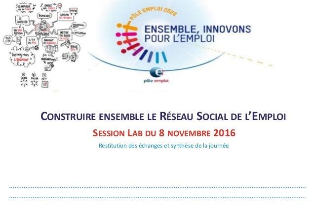 Restitution des échanges et synthèse de la journée SESSION LAB DU 8 NOVEMBRE 2016 CONSTRUIRE ENSEMBLE LE RÉSEAU SOCIAL DE ...