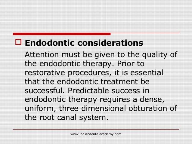 Restoration of endodontically treated teeth /prosthodontic