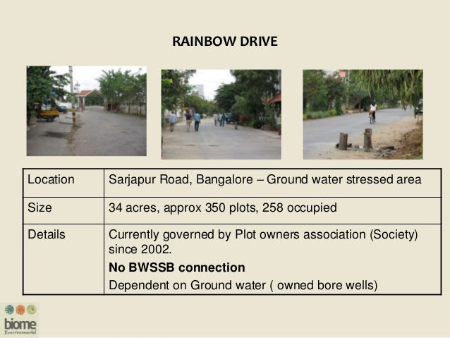 RAINBOW DRIVE Location Sarjapur Road, Bangalore – Ground water stressed area Size 34 acres, approx 350 plots, 258 occupied...