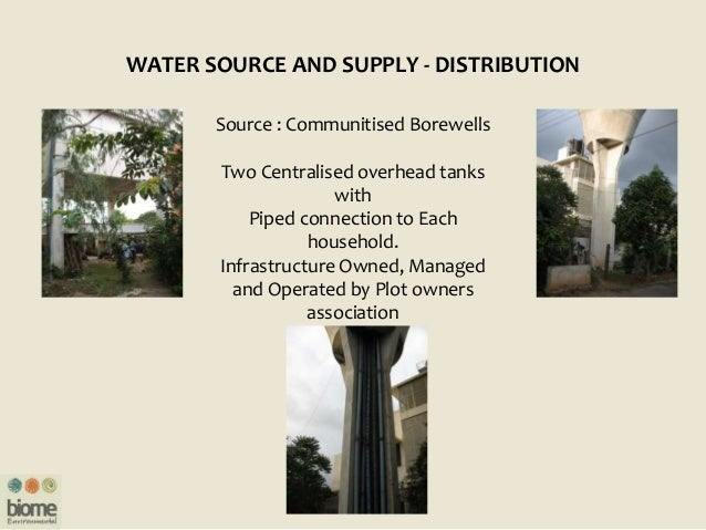 WATER SOURCE AND SUPPLY - DISTRIBUTION Source : Communitised Borewells Two Centralised overhead tanks with Piped connectio...