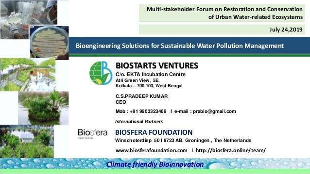 BIOSFERA FOUNDATION Winschoterdiep 50 I 9723 AB, Groningen , The Netherlands International Partners C.S.PRADEEP KUMAR CEO ...