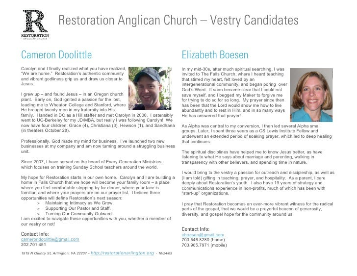 Restoration Anglican Church – Vestry Candidates  Cameron Doolittle                                                        ...