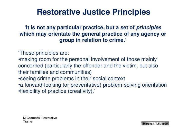 an introduction to the restorative justice Welcome to the san lorenzo unified restorative practices portal you'll find a rich assortment of resources regarding restorative practices on this page overview of restorative practices in san lorenzo usd overview of restorative practices from iirp contact the tsa for restorative practices for more information:.