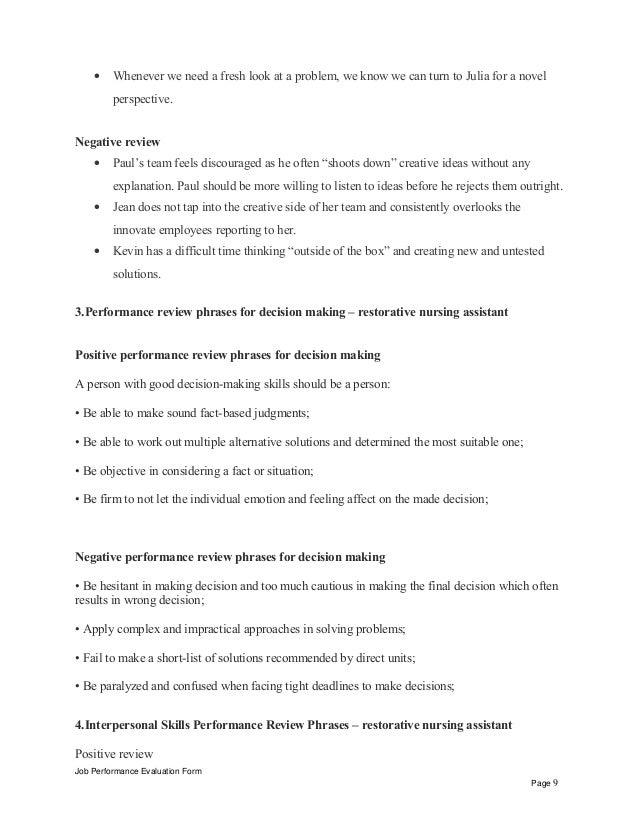 Restorative nursing assistant performance appraisal