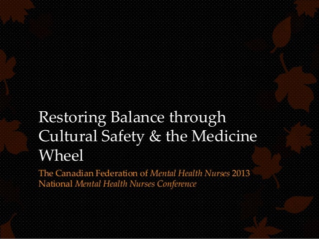 Restoring Balance through Cultural Safety & the Medicine Wheel The Canadian Federation of Mental Health Nurses 2013 Nation...