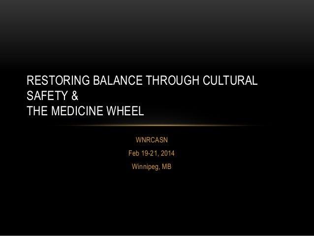 RESTORING BALANCE THROUGH CULTURAL SAFETY & THE MEDICINE WHEEL WNRCASN Feb 19-21, 2014 Winnipeg, MB