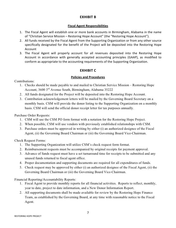 Restoring Hope Project Agreement