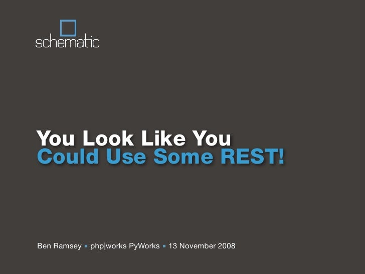 You Look Like You Could Use Some REST!   Ben Ramsey ■ php|works PyWorks ■ 13 November 2008