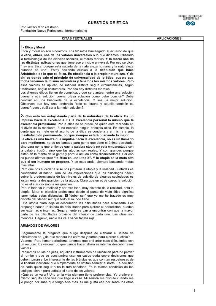 CUESTIÓN DE ÉTICA Por Javier Darío Restrepo Fundación Nuevo Periodismo Iberoamericano                               CITAS ...
