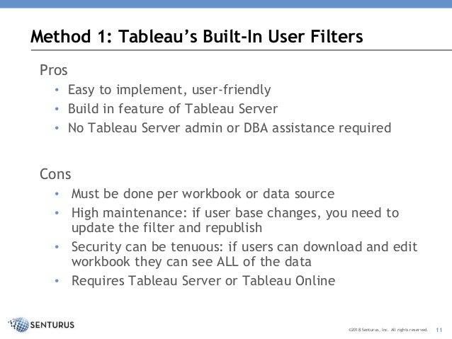 Restricting Access to Content by User in Tableau