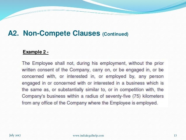 non compete clauses continued wwwindialegalhelpcom 12july 2017 example 1 13