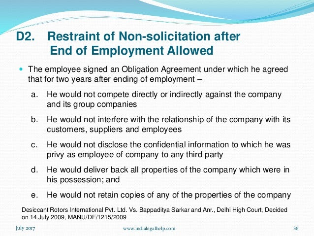 Restrictive Clauses In Employment Agreements In India
