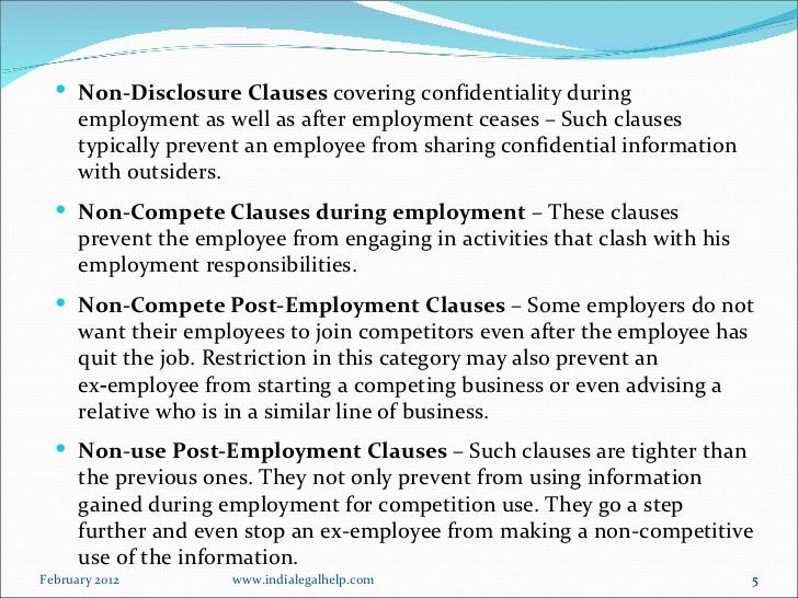 Restrictive Clauses In Employment Agreements  Legal Situation In Ind