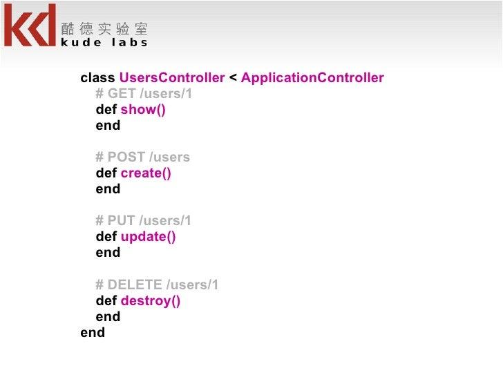<ul><li>class  UsersController  <  ApplicationController </li></ul><ul><li># GET /users/1 </li></ul><ul><li>def  show() </...