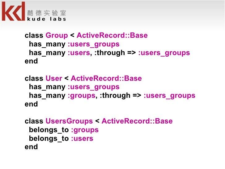 <ul><li>class  Group  <  ActiveRecord::Base </li></ul><ul><li>has_many  :users_groups </li></ul><ul><li>has_many  :users ,...