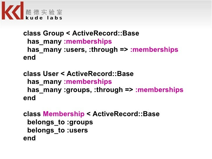 <ul><li>class Group < ActiveRecord::Base </li></ul><ul><li>has_many  :memberships </li></ul><ul><li>has_many :users, :thro...