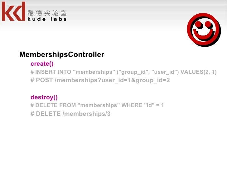 <ul><li>MembershipsController </li></ul><ul><ul><li>create() </li></ul></ul><ul><ul><li># INSERT INTO &quot;memberships&qu...