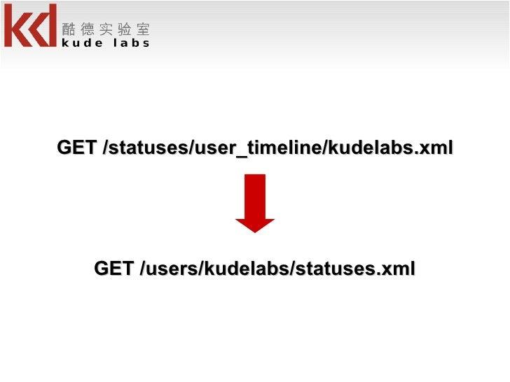 GET /users/kudelabs/statuses.xml GET /statuses/user_timeline/kudelabs.xml