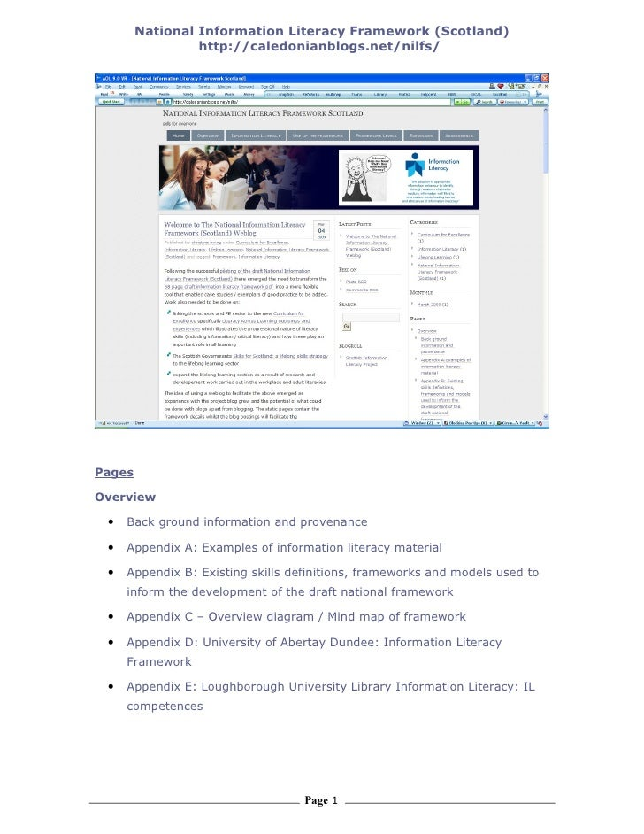 National Information Literacy Framework (Scotland)                  http://caledonianblogs.net/nilfs/     Pages  Overview ...