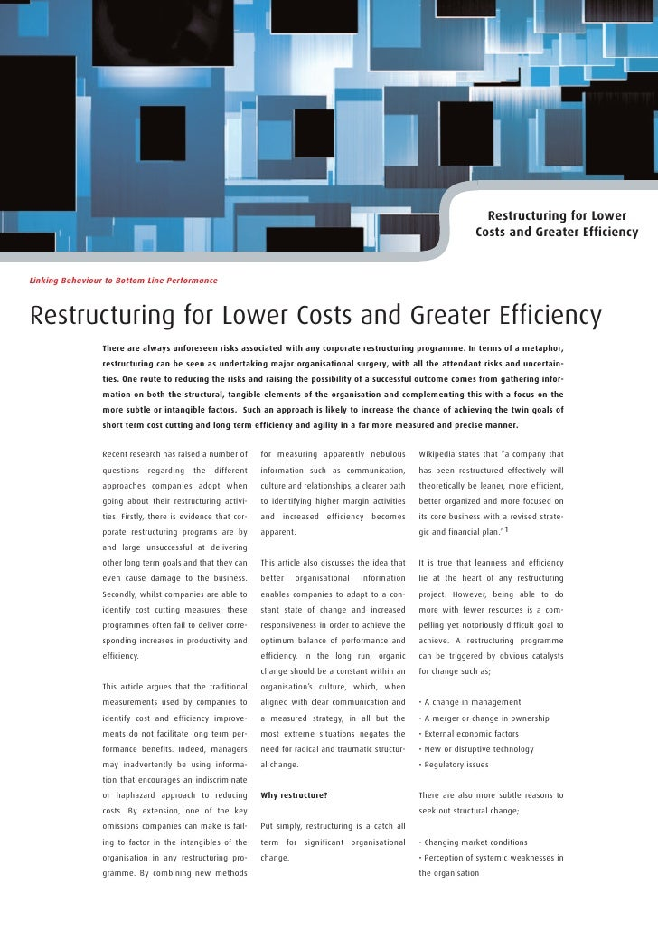 Restructuring for Lower                                                                                                   ...