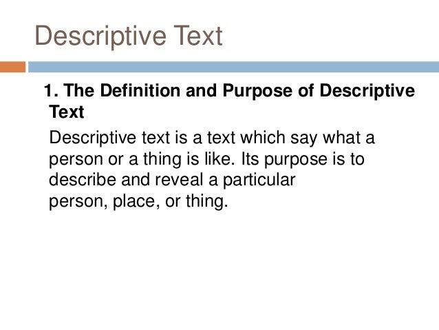definition descriptive text