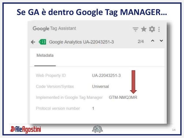 14 Se GA è dentro Google Tag MANAGER…