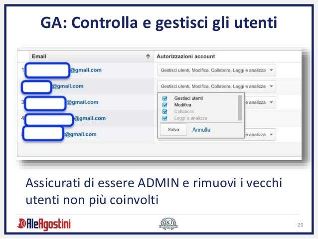 20 GA: Controlla e gestisci gli utenti Assicurati di essere ADMIN e rimuovi i vecchi utenti non più coinvolti
