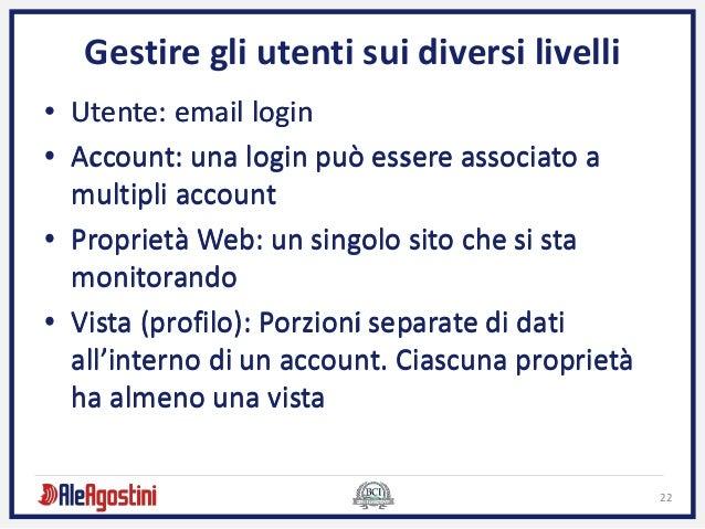 22 • Utente: email login • Account: una login può essere associato a multipli account • Proprietà Web: un singolo sito che...