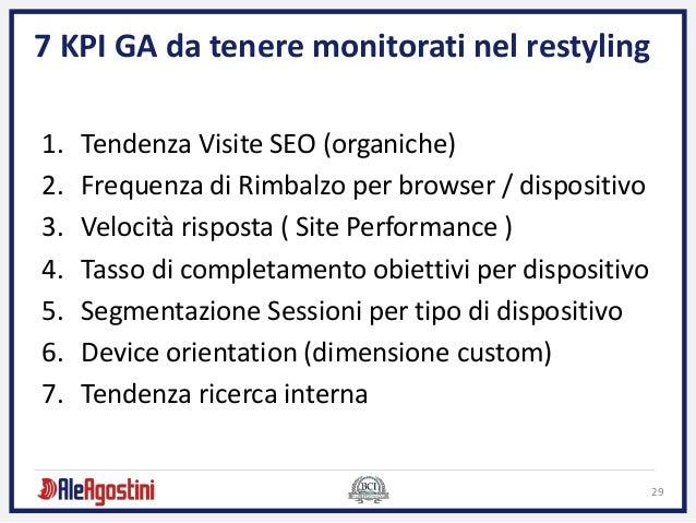 29 7 KPI GA da tenere monitorati nel restyling 1. Tendenza Visite SEO (organiche) 2. Frequenza di Rimbalzo per browser / d...