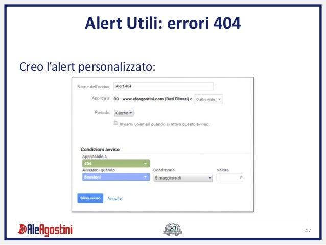 47 Alert Utili: errori 404 Creo l'alert personalizzato: