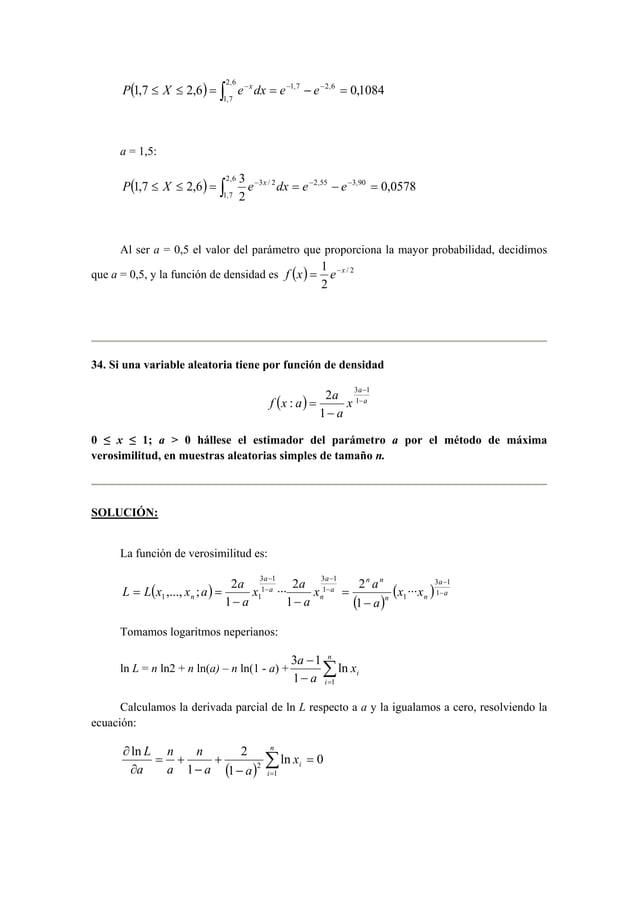 ( ≤ ≤ ) = ∫2,6 − = − − − =  P 1,7 X 2,6 e xdx e 1,7 e 2,6 0,1084  1,7  a = 1,5:  P ( 1,7 ≤ X ≤ 2,6 ) = ∫2,6 3 e − x dx = e...