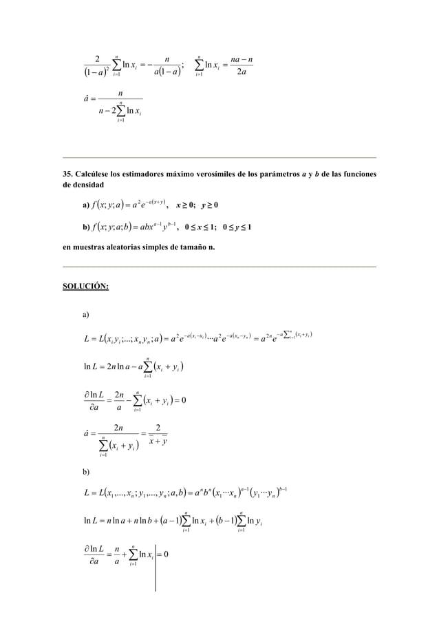 x n  ( ) ( ) Σ=  2 ;  −  = −  −  n  i  i a a  a 1  1  ln  1  2  Σ=  x −  =  na n  n  i  i a  ln  1 2  â n  = n  Σ=  n −  2...