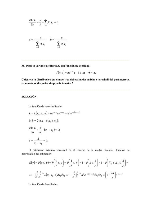 n  ln ln 0  ∂ n  Σ=  = + =  ∂  i  i y  b  b  L  1  ;  ln  = − n  1 Σ=  i  i x  â n  = − n  Σ=  i  i y  b n  1  ^  ln  36. ...