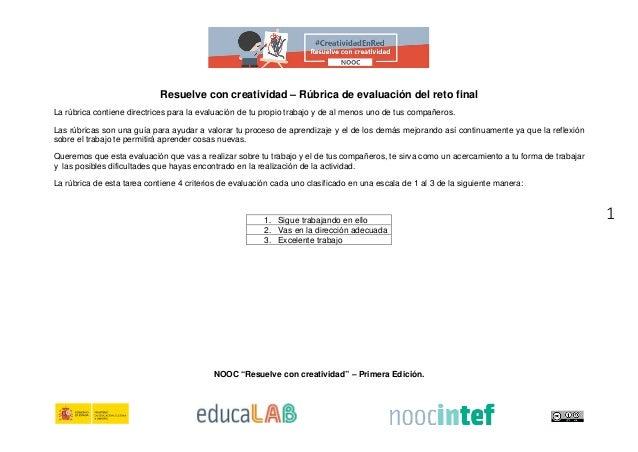 1 Resuelve con creatividad – Rúbrica de evaluación del reto final La rúbrica contiene directrices para la evaluación de tu...
