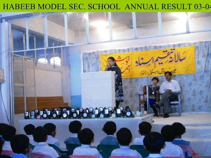 HABEEB MODEL SEC. SCHOOL  ANNUAL RESULT 03-04