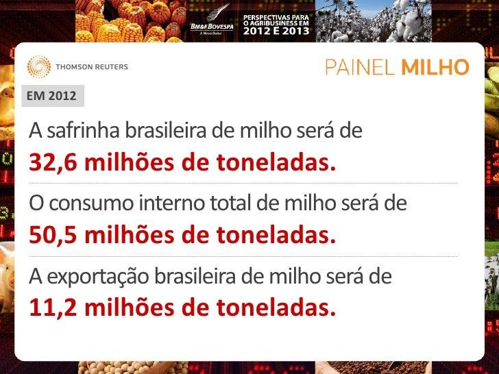 EM 2012A safrinha brasileira de milho será de32,6 milhões de toneladas.O consumo interno total de milho será de50,5 milhõe...