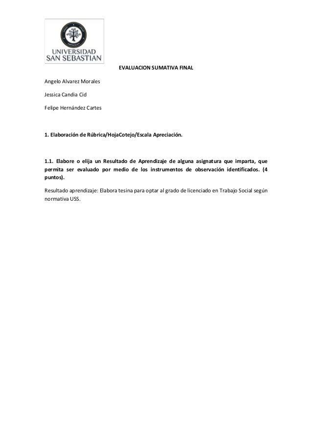 EVALUACION SUMATIVA FINALAngelo Alvarez MoralesJessica Candia CidFelipe Hernández Cartes1. Elaboración de Rúbrica/HojaCote...