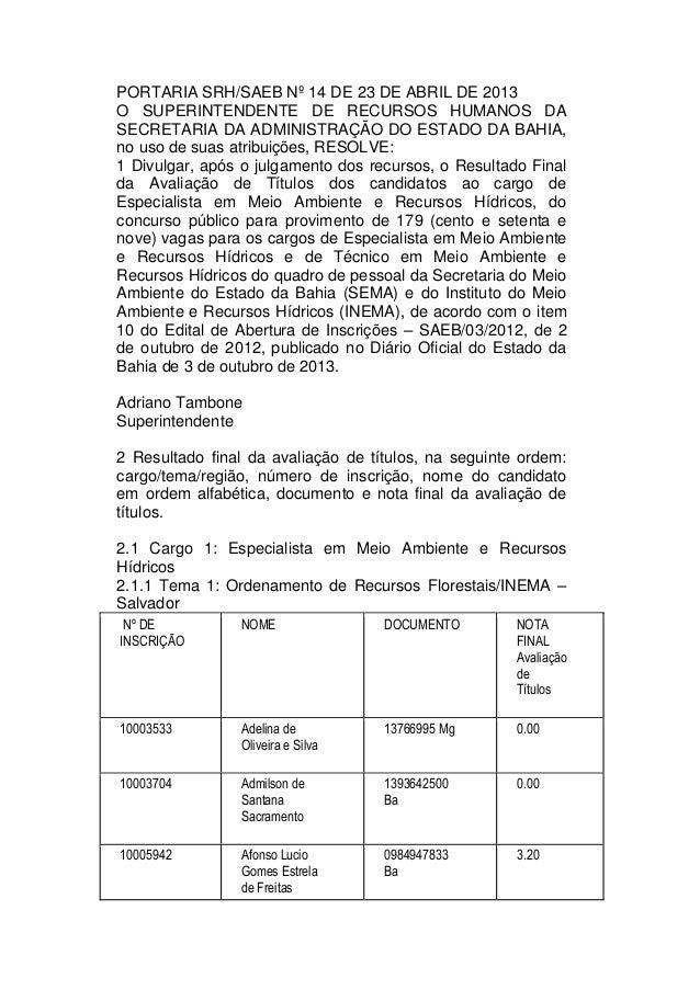 PORTARIA SRH/SAEB Nº 14 DE 23 DE ABRIL DE 2013O SUPERINTENDENTE DE RECURSOS HUMANOS DASECRETARIA DA ADMINISTRAÇÃO DO ESTAD...