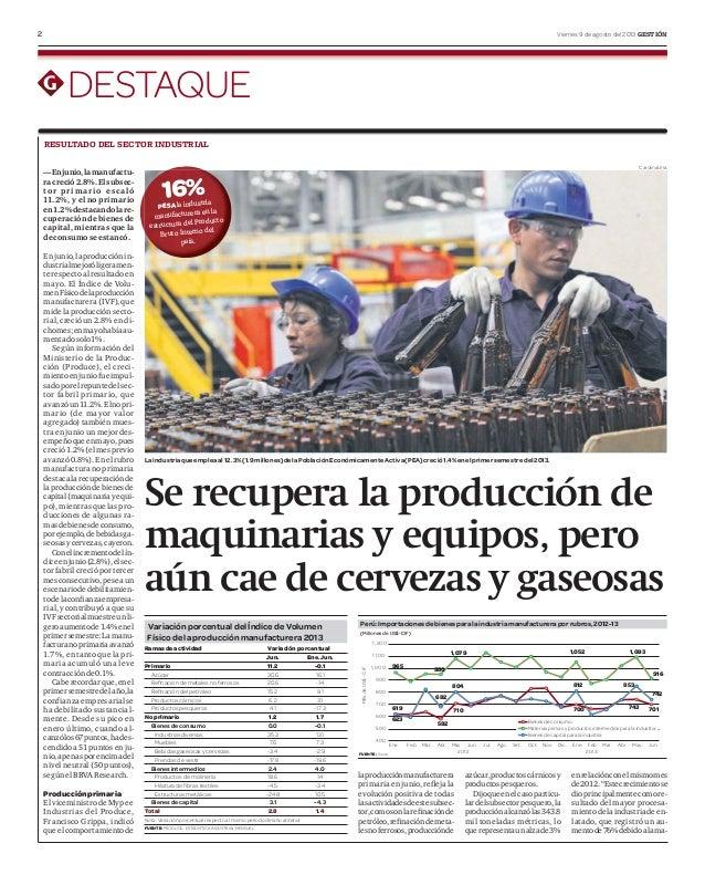 2 Viernes 9 de agosto del 2013 GESTIÓN DESTAQUE Se recupera la producción de maquinarias y equipos, pero aún cae de cervez...