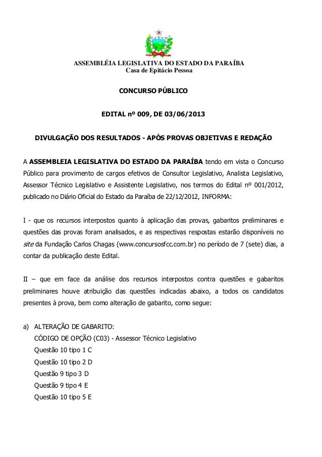 ASSEMBLÉIA LEGISLATIVA DO ESTADO DA PARAÍBACasa de Epitácio PessoaCONCURSO PÚBLICOEDITAL nº 009, DE 03/06/2013DIVULGAÇÃO D...