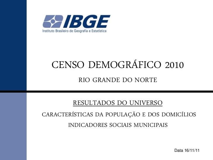 CENSO DEMOGRÁFICO 2010          RIO GRANDE DO NORTE         RESULTADOS DO UNIVERSOCARACTERÍSTICAS DA POPULAÇÃO E DOS DOMIC...