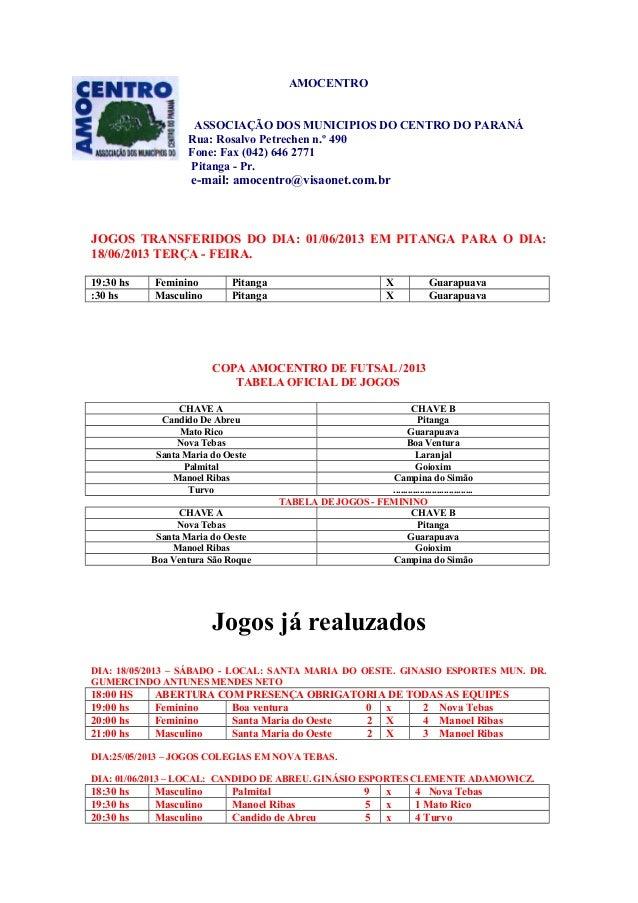 AMOCENTROASSOCIAÇÃO DOS MUNICIPIOS DO CENTRO DO PARANÁRua: Rosalvo Petrechen n.º 490Fone: Fax (042) 646 2771Pitanga - Pr.e...