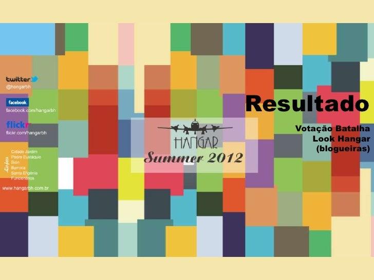 Resultado<br />Votação Batalha Look Hangar (blogueiras)<br />