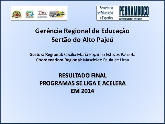 Gerência Regional de Educação Sertão do Alto Pajeú Gestora Regional: Cecília Maria Peçanha Esteves Patriota Coordenadora R...