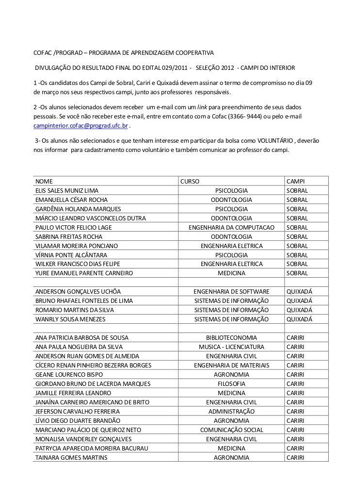 COFAC /PROGRAD – PROGRAMA DE APRENDIZAGEM COOPERATIVADIVULGAÇÃO DO RESULTADO FINAL DO EDITAL 029/2011 - SELEÇÃO 2012 - CAM...