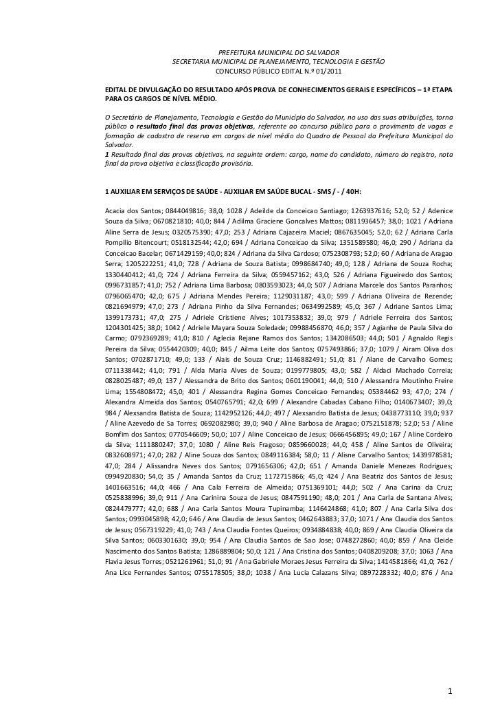 PREFEITURA MUNICIPAL DO SALVADOR                     SECRETARIA MUNICIPAL DE PLANEJAMENTO, TECNOLOGIA E GESTÃO            ...